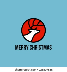 Christmas elk flat line icon