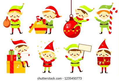 Christmas elves. Collection of cute Santa's helpers holding gifts, sweets and other. Funny cartoon New Year characters for greeting design