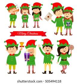 Christmas elves, helpers of Santa Claus, vector