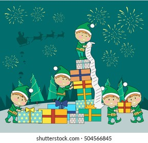 Christmas elves packing presents gift boxes according to wish list. Fireworks and santa with reindeers in sky on snowy background. Magic eve. New year and xmas concept. Cartoon flat style. Vector
