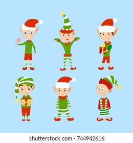 Christmas elves set. Funny cartoon creatures in green outfits.