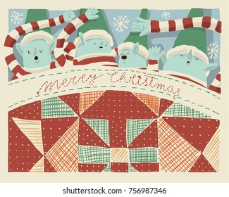 Christmas elves sleeping under the blanket