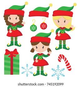 Christmas Elves Vector Illustration