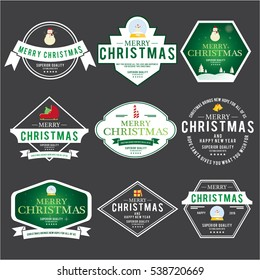 Christmas Emblem and Label Vector Design Elements Set, vintage ornaments