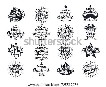 Christmas Emblem Set Black Color Flat Stock Vector (Royalty Free ...