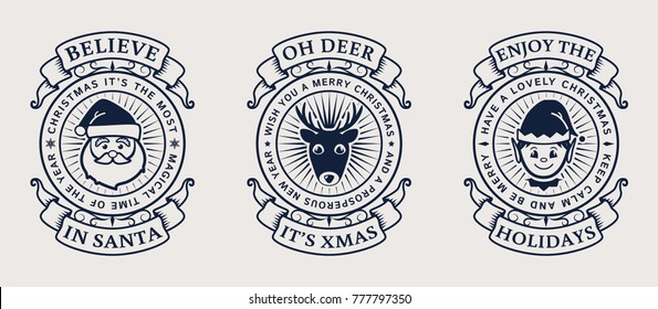 Christmas emblems with Santa, Elf and deer. Set of elegant typography badges for postcards, gift tags, print on holiday souvenirs or web page decor. Vector illustration.