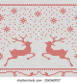 Christmas embroidery cross-stitch pattern with deer and snowflakes. This pattern is seamless, it can be turned into a border.