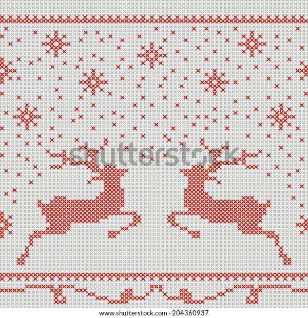 Christmas Embroidery Patterns Free.Christmas Embroidery Crossstitch Pattern Deer Snowflakes