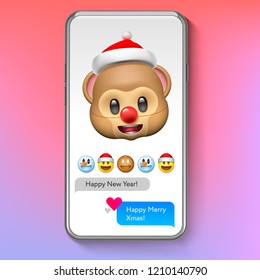 Christmas emoji Monkey in Santa's hat, holiday smile face emoticon, vector illustration.