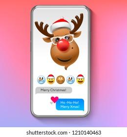 Christmas emoji Reindeer in Santa's hat, holiday smile face emoticon, vector illustration.