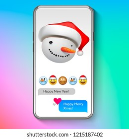 Christmas emoji Snowman in Santa's hat, holiday smile face emoticon, vector illustration.