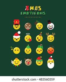 Christmas Emoticon set on dark background