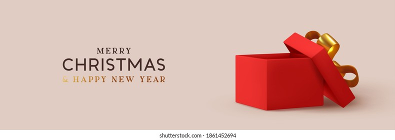 Christmas Empty Open gift box template. Xmas design Realistic decorative objects. Sale banner, surprise poster, flyer and brochure. mock up holiday. Celebrate birthday, anniversary, wedding.