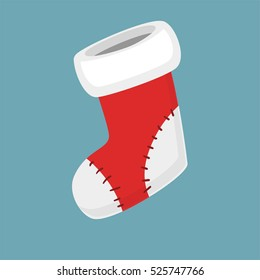 Christmas empty red socks Icon Vector Illustration in modern flat and simple style. Good for motion design