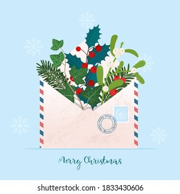 Christmas envelope with different Christmas plants - Mistletoe, holly berry, pine, ivy, yew. Cute vector illustration, template for greeting card, poster