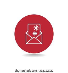 Christmas envelope with paper card icon.