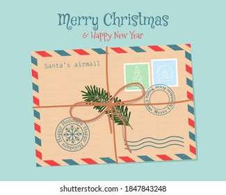 Christmas envelope with seals, stamps, and Christmas tree branch, tied with a rope. Cute vector illustration