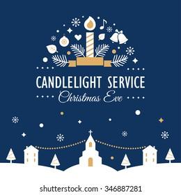 Christmas Eve Candlelight Service Invitation Card