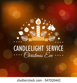 Christmas Eve Candlelight Service Invitation. Blurry Background