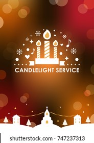 Christmas Eve Candlelight Service Invitation card Template. Blurry Bokeh Background. Vector Design.