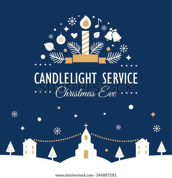 Christmas Eve Candlelight Service Invitation Card Stock