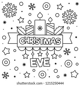 Christmas Eve. Coloring page. Black and white vector illustration.