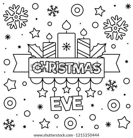 christmas eve coloring pages | Christmas Eve Coloring Page Black White Stock Vector ...