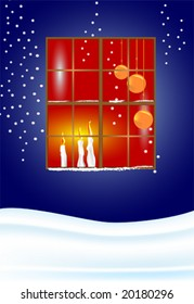 Christmas eve - Window with candles