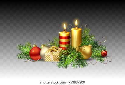 Christmas evening balls, gifts, fir trees and burning candles on a transparent background. Holiday decorations and objects for any background design.
