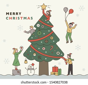 Christmas event promotion banner. Everyone is decorating a huge Christmas tree. flat design style minimal vector illustration.