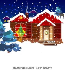 Christmas eve,snow night, hand drawn