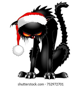 Christmas Evil Black Cat Funny Character