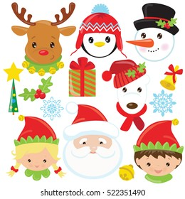 Christmas faces vector cartoon illustration