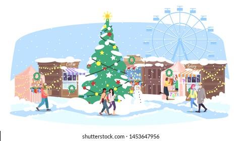 Christmas fair flat vector illustration. Xmas street market, funfair. Cartoon people walk winter fairground with holiday market stalls, Christmas tree and ferris wheel. New Year greeting card design