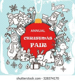 Christmas fair invitation card. Doodle xmas and new year design elements.