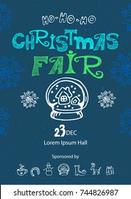 Christmas fair, market announcement poster, card template with snow globe.