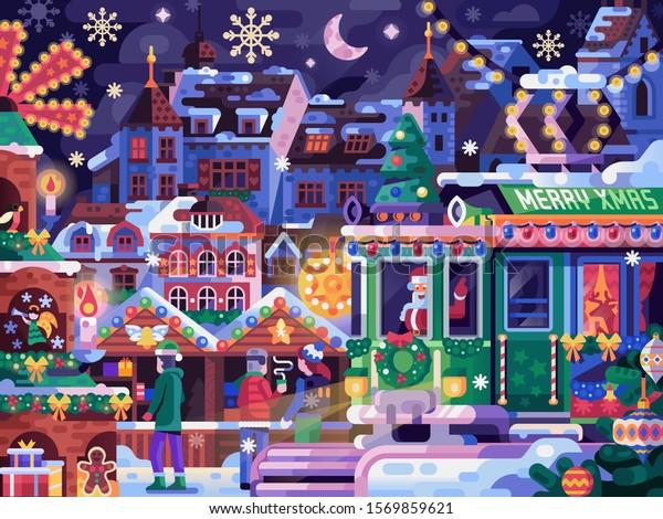 Christmas Fair Old Town Winter Festival Stock Vector Royalty Free 1569859621