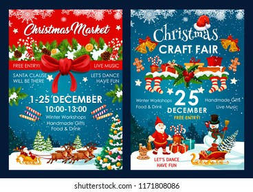 Christmas fair poster design of Santa and snowman in sleigh with New Year gifts bag. Vector Christmas winter holiday event invitation of holly ornament on blue snow and red ribbon background