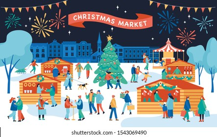 Christmas fair poster template with cartoon characters. Happy people walk between wooden kiosks and buy drinks, food and gifts. Holiday activities in winter town. Vector illustration.