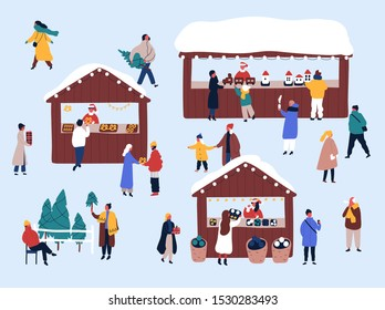 Christmas fair, street market flat vector illustration. Merchants and customers cartoon characters. Vendors selling fir trees, food and presents. Xmas atmosphere, traditional holiday shopping.