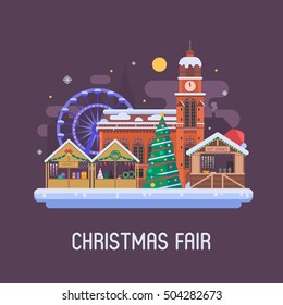 Christmas fair in winter town square. Traditional europe christmas market with souvenir stalls, New Year tree, gift shops, ferris wheel and cathedral building. Snow city flat landscape by Eve night.