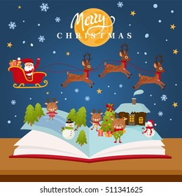 Christmas fairy tale concept - kids illustration with magic forest, happy Santa in a sleigh, Christmas Eve, cute animals and snowman. Imagination coming to life in a children fantasy book.