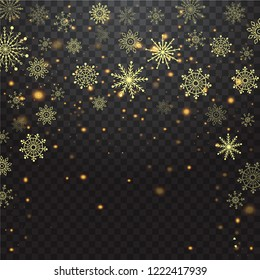 Christmas Falling snow gold glitter particles on a transparent sparcle background. Abstract snowflake background. Vector illustration