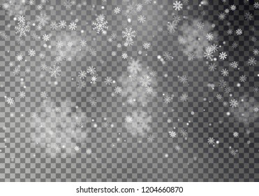 Christmas falling snow vector isolated on dark background. Horizontal seamless snowflake, transparent decoration effect. Xmas snow flake. Magic white snowfall texture. Winter snowstorm illustration.