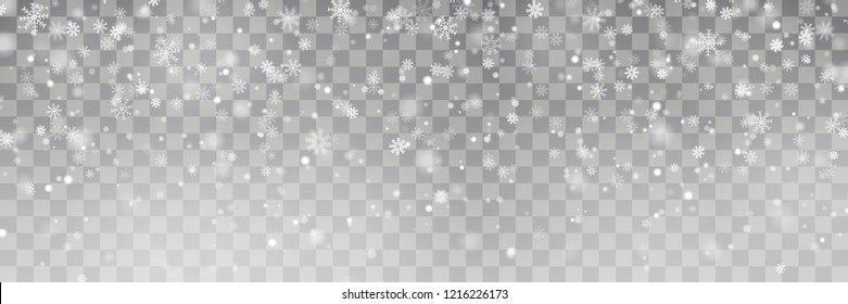 Christmas falling snow vector isolated on background. Snowflake transparent decoration effect. Xmas snow flake pattern. Magic white snowfall texture. Winter New Year snowstorm backdrop illustration.