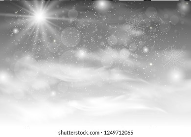 Christmas falling snow vector isolated on dark background. Snowflake transparent decoration effect. Magic white snowfall texture. Winter snowstorm backdrop illustration