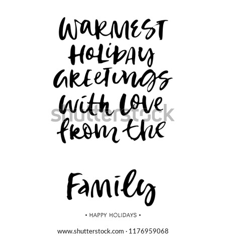 Christmas Family Greeting Card Calligraphy Quote Stock Vector