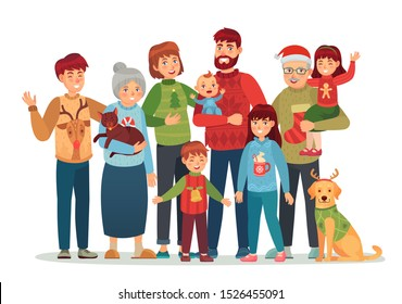 Christmas family portrait. Happy xmas holiday people, big family in ugly sweaters. Holiday greeting card, character together for new year gift poster isolated cartoon vector illustration