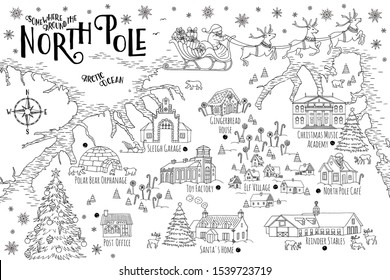 Christmas fantasy map of the North Pole, showing the home and toy factory of Santa Claus, reindeer stables, elf village etc. - vintage Christmas greeting card template