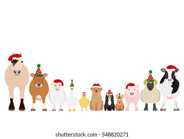 Christmas farm animals border set